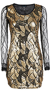Gold Sequin Mesh Dress
