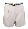 Khaki Sleek Shorts with Green Belt