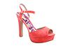 Coral Peep Toe Ankle Strap Shoes