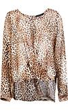 Cheetah Print Drape Blouse