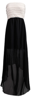 Dark Chiffon High-Low Slit Dress