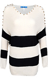 Striped Spike Shoulder Sweater
