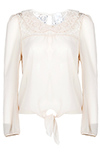 Sheer Blouse With Lace Collar