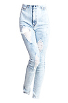 Acid Wash Destroyed Skinny Jeans