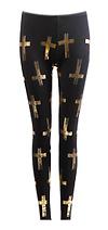Metallic Cross Print Leggings