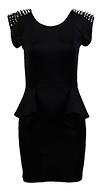 Studded Shoulder Peplum Dress