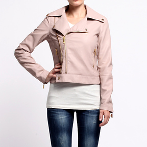 DailyLook Nude Motorcycle Leather Jacket by Luz Apparel